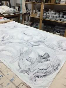 fabric on monoprint
