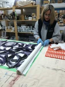 unrolling fabric - large mono prints