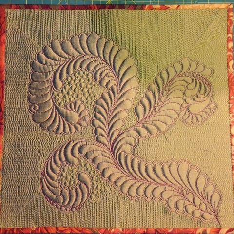 100% Tuscany Wool Batting with Silk Dupioni and 40-weight rayon thread