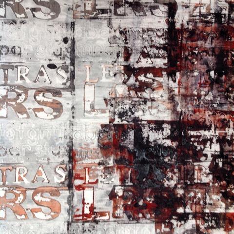 Breakdown screen printing using print paste and a bit of orange rust