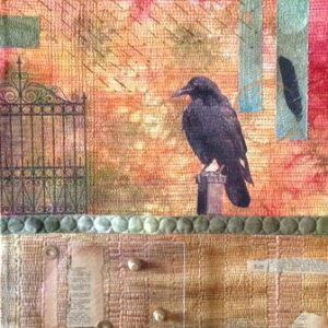 crows, plexiglass and screws, hand-dyed fabric