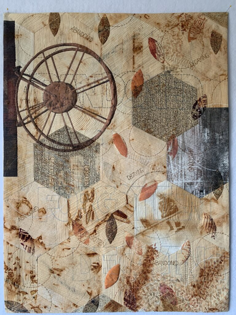 rusted fabrics, wheel, kauai,fmq, hand-embroidery, tap