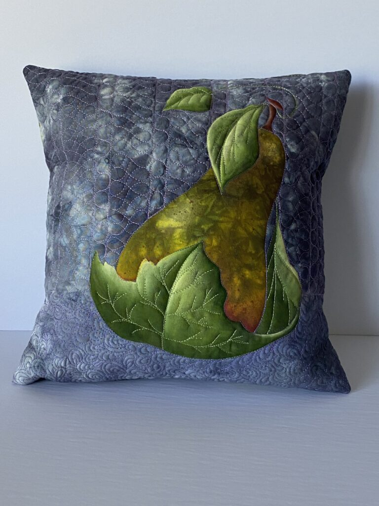 "Pillow - 12"", hand-painted, dyed, fmq"
