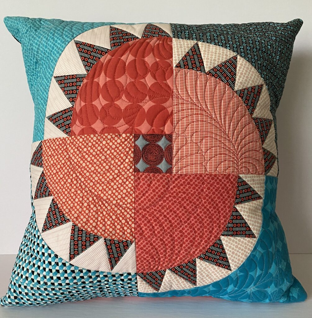 Machine pieced and quilted NYB pillow - back