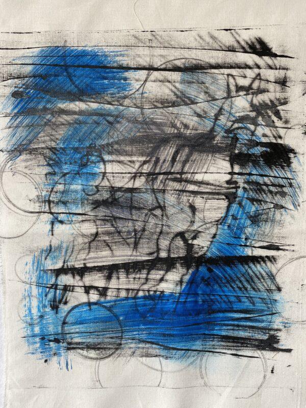 Black and blue monoprint