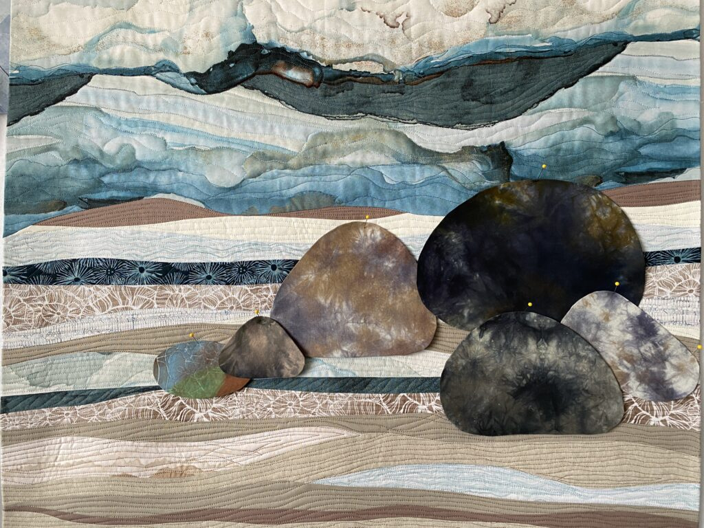 Rocks on fabric