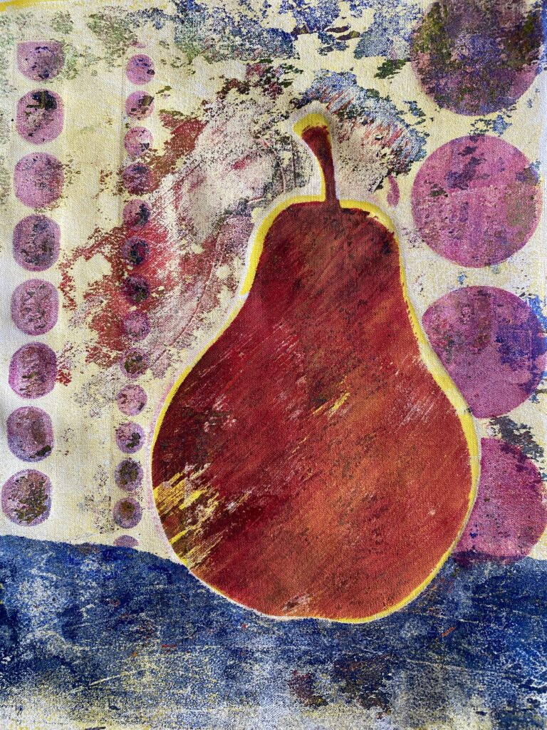 monoprinted pear
