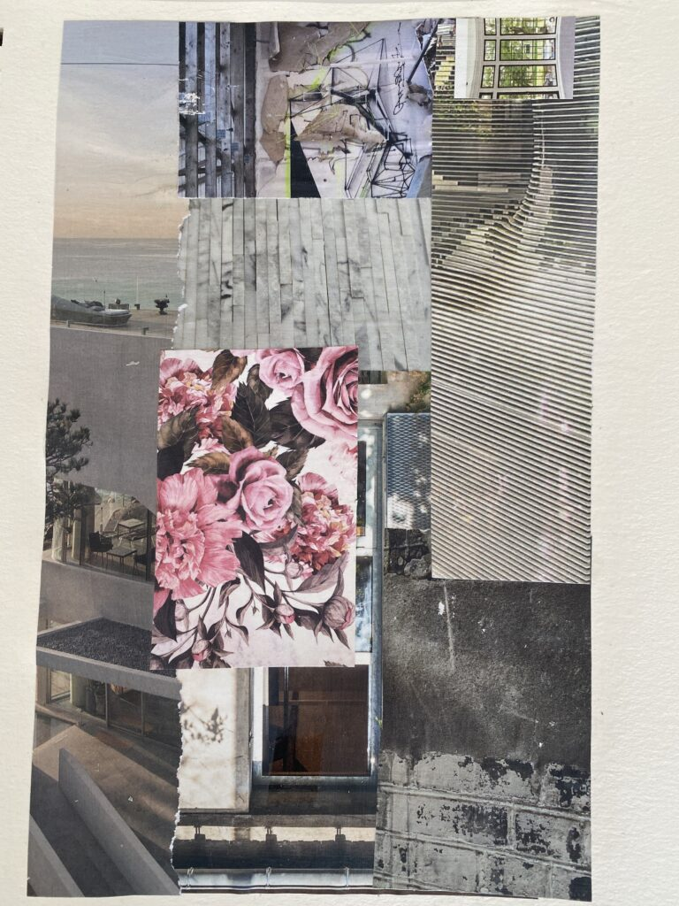 paper collage with pink roses