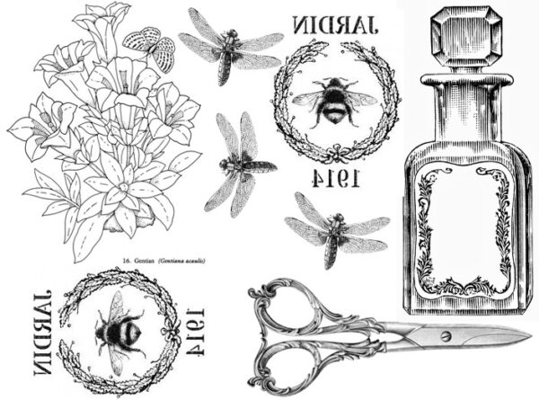 dragonflies and perfume bottle with scissors