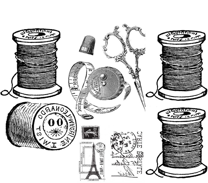 Thread spools and measuring tape